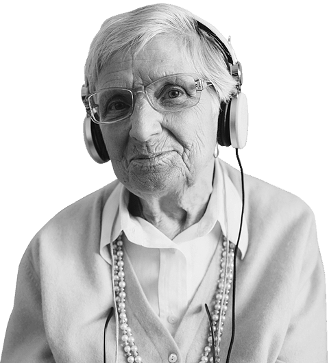 Old lady with a headset